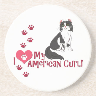 I Love My American Curl! Drink Coasters
