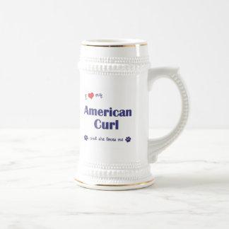 I Love My American Curl (Female Cat) Beer Stein
