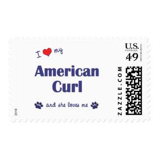 I Love My American Curl (Female Cat) Stamp