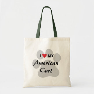 I Love My American Curl Pawprint Canvas Bags