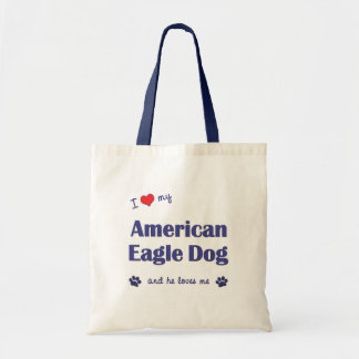 I Love My American Eagle Dog (Male Dog) Budget Tote Bag