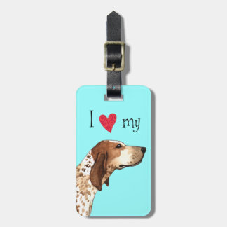 I Love my American English Coonhound Luggage Tag