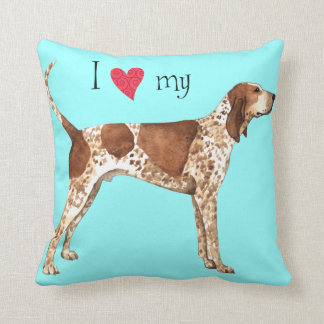 I Love my American English Coonhound Throw Pillow