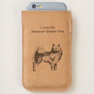 I Love My American Eskimo Dog - leather iPhone 6/6S Case