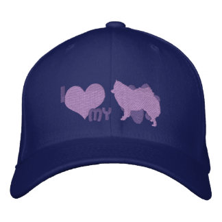 I Love my American Eskimo Dog Purp Embroidered Hat