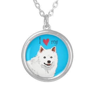 I Love my American Eskimo Dog Round Pendant Necklace