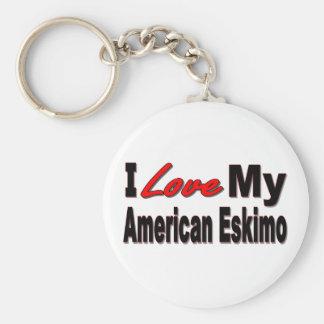I Love My American Eskimo Keychain
