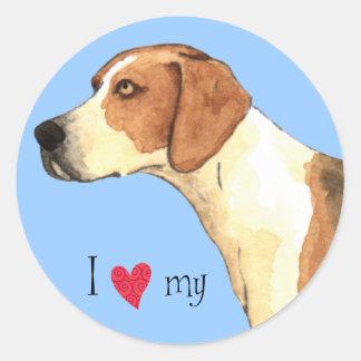 I Love my American Foxhound Classic Round Sticker