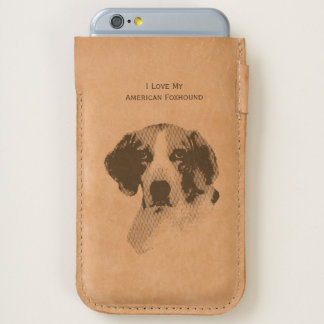 I Love My American Foxhound - leather iPhone 6/6S Case