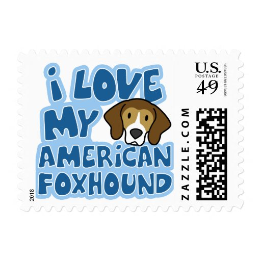 I Love My American Foxhound Stamps