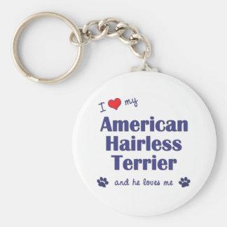 I Love My American Hairless Terrier (Male Dog) Key Chain