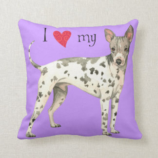 I Love my American Hairless Terrier Throw Pillow