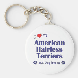 I Love My American Hairless Terriers (Multi Dogs) Keychain