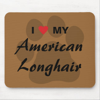 I Love My American Longhair Pawprint Mouse Pads