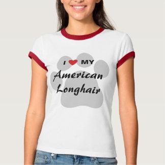 I Love My American Longhair Pawprint T Shirt