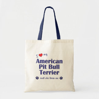 I Love My American Pit Bull Terrier (Female Dog) Tote Bags