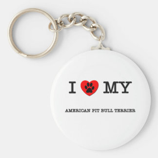 I LOVE MY AMERICAN PIT BULL TERRIER KEYCHAINS