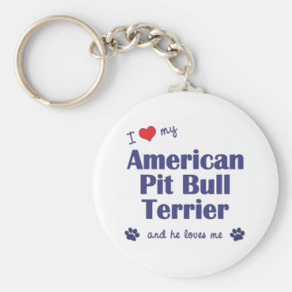 I Love My American Pit Bull Terrier (Male Dog) Keychains