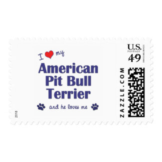 I Love My American Pit Bull Terrier (Male Dog) Postage Stamps