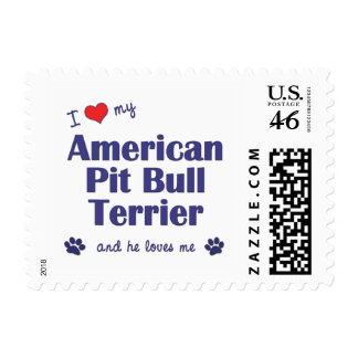 I Love My American Pit Bull Terrier Male Dog Stamps