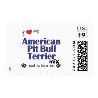 I Love My American Pit Bull Terrier Mix (Male Dog) Stamps