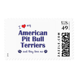 I Love My American Pit Bull Terriers (Multi Dogs) Stamps