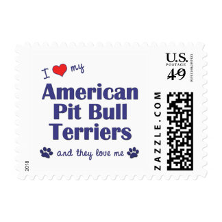 I Love My American Pit Bull Terriers (Multi Dogs) Postage