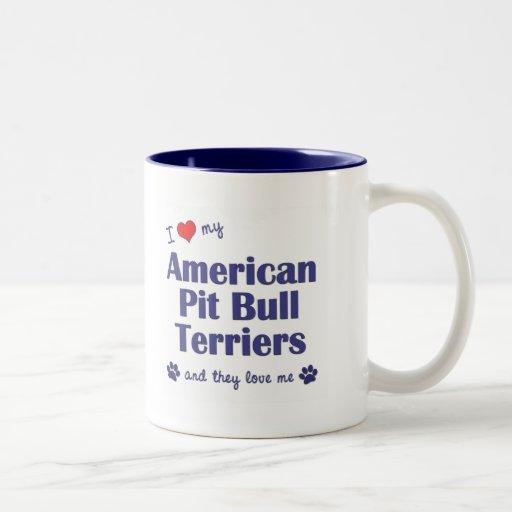 I Love My American Pit Bull Terriers (Multi Dogs) Two-Tone Coffee Mug