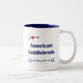 I Love My American Saddlebreds (Multiple Horses) Two-Tone Coffee Mug