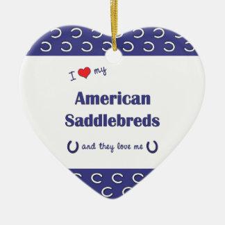 I Love My American Saddlebreds (Multiple Horses) Double-Sided Heart Ceramic Christmas Ornament