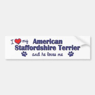 I Love My American Staffordshire (Male Dog) Car Bumper Sticker