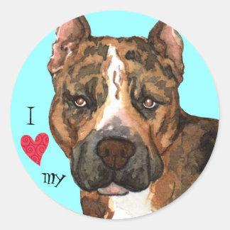 I Love my American Staffordshire Terrier Classic Round Sticker