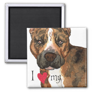 I Love my American Staffordshire Terrier Refrigerator Magnet