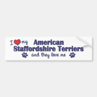 I Love My American Staffordshires (Multiple Dogs) Car Bumper Sticker