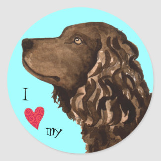 I Love my American Water Spaniel Classic Round Sticker