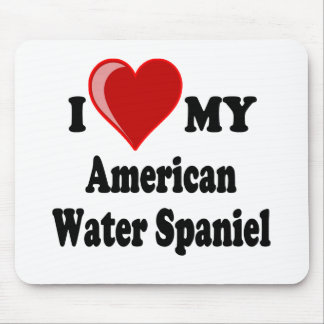 I Love My American Water Spaniel Dog Mouse Mats