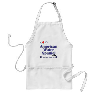 I Love My American Water Spaniel Mix (Female Dog) Adult Apron