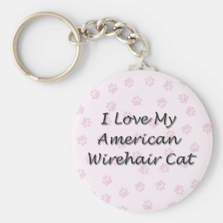 I Love My American Wirehair Cat Keychain