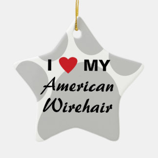 I Love My American Wirehair Pawprint Ceramic Ornament