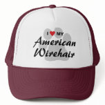 I Love My American Wirehair Pawprint Trucker Hat