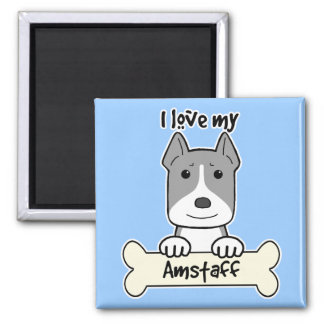 I Love My Amstaff Fridge Magnets
