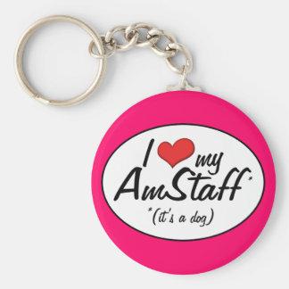I Love My AmStaff (It's a Dog) Basic Round Button Keychain
