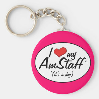 I Love My AmStaff (It's a Dog) Keychain
