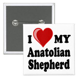 I Love My Anatolian Shepherd Dog 2 Inch Square Button
