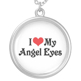I Love My Angel Eyes Silver Plated Necklace