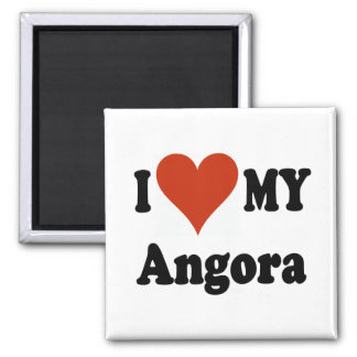 I Love My Angora Cat Gfits and Apparel 2 Inch Square Magnet