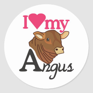 I Love My Angus Classic Round Sticker