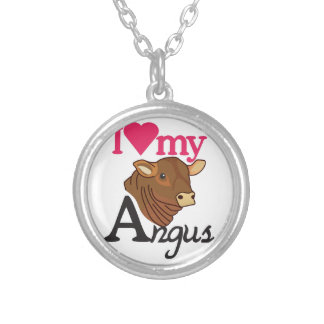 I Love My Angus Silver Plated Necklace