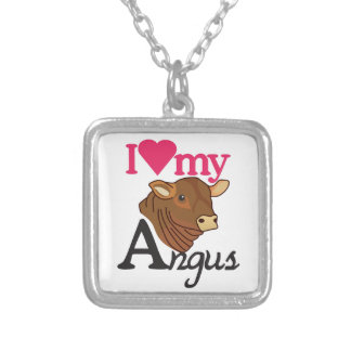 I Love My Angus Square Pendant Necklace