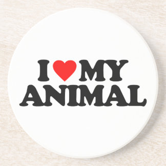 I LOVE MY ANIMAL BEVERAGE COASTER